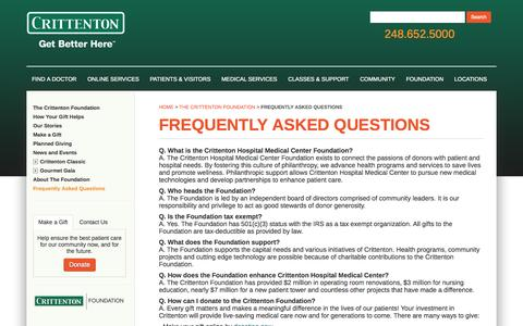 Screenshot of FAQ Page crittenton.com - FAQ | Crittenton Hospital Foundation - captured Oct. 2, 2014