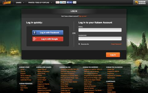 Screenshot of Login Page kabam.com - Free Strategy Game Online | Pirates: Tides of Fortune - captured Nov. 4, 2014
