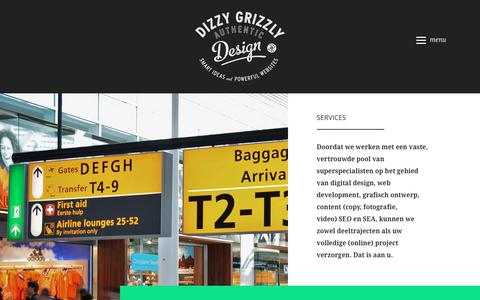 Screenshot of Services Page dizzygrizzly.nl - Services - website ontwikkeling - captured Nov. 4, 2018