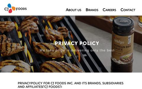 Screenshot of Privacy Page cjfoods.com - Privacy Policy | cjfoods.com - captured July 14, 2018
