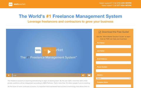 Screenshot of Landing Page workmarket.com - The World's #1 Freelance Management System - captured Oct. 27, 2014