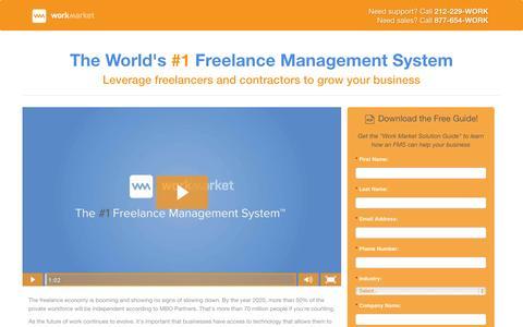 Screenshot of Landing Page workmarket.com - The World's #1 Freelance Management System - captured Oct. 27, 2014