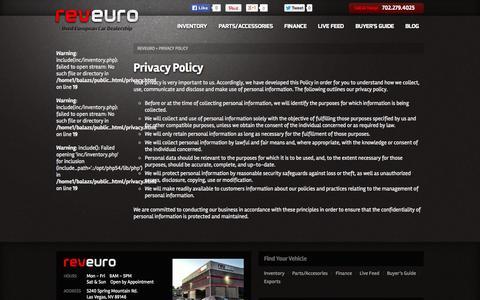 Screenshot of Privacy Page reveuro.com - Privacy Policy | RevEuro - captured Oct. 26, 2014