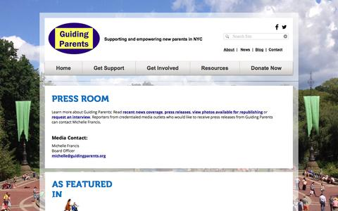 Screenshot of Press Page guidingparents.org - GUIDING PARENTS | Supporting and empowering new parents in NYC | PressRoom - captured Nov. 16, 2016