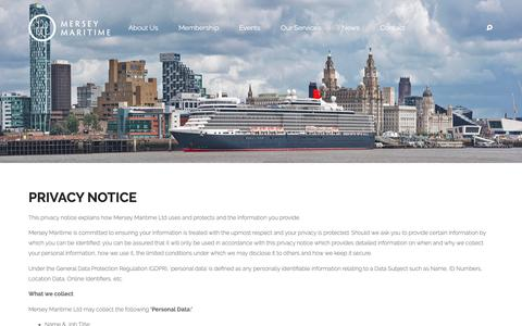 Screenshot of Privacy Page merseymaritime.co.uk - Mersey Maritime Privacy - Mersey Maritime - captured Oct. 17, 2018