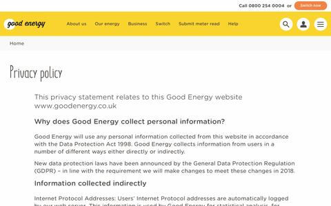 Screenshot of Privacy Page goodenergy.co.uk - Privacy policy | Good Energy - captured March 25, 2017
