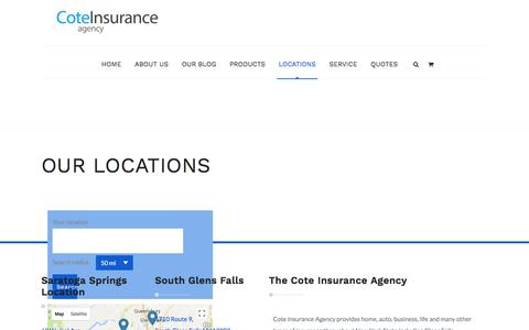 Screenshot of Locations Page savewithcote.com - Our Locations and Contact | Cote Insurance Agency | Insurance Made Easy - captured Sept. 5, 2017