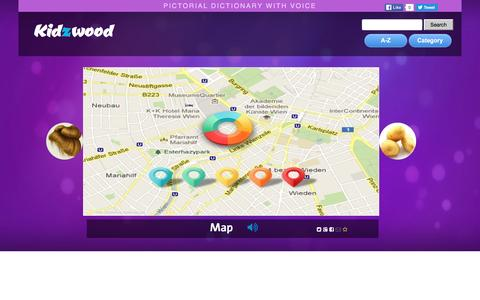 Screenshot of Maps & Directions Page kidzwood.com - Kidzwood Picture Dictionary: Map - captured May 31, 2016