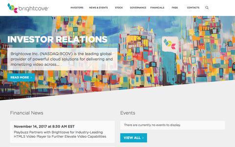 Investor Relations | Brightcove Inc.