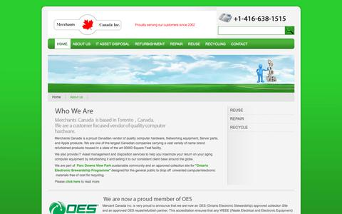 Screenshot of About Page merchantscanada.com - Merchants Canada - Canadian vendor of quality computer hardware, Networking equipment, Server parts, and Apple products - captured Oct. 18, 2017