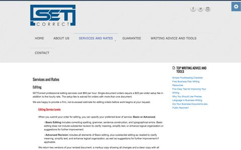 Screenshot of Services Page setcorrect.com - Services and Rates - SETCorrect expert writing and editing - captured Oct. 3, 2014