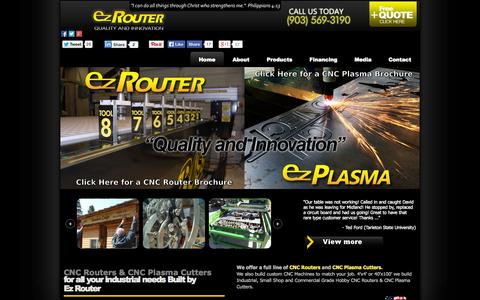 Screenshot of Home Page ez-router.com - CNC Routers / CNC Plasma Cutters Made in the USA by Ez Router - captured Oct. 3, 2014