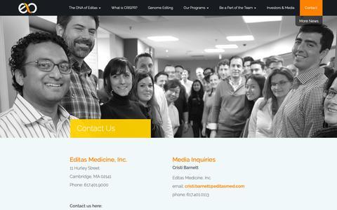 Screenshot of Contact Page editasmedicine.com - » Contact Us - captured Feb. 13, 2019