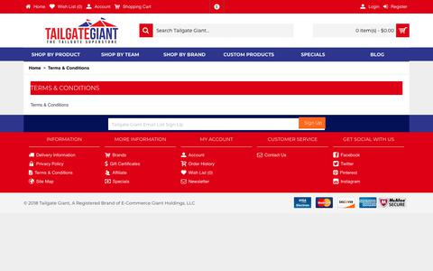 Screenshot of Terms Page tailgategiant.com - Terms & Conditions - captured Oct. 20, 2018