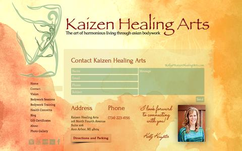 Screenshot of Contact Page kaizenhealingarts.com - Contact I Kaizen Healing Arts - captured June 9, 2017