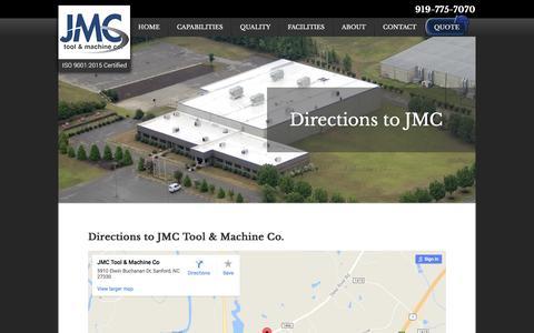 Screenshot of Maps & Directions Page jmctool.com - Directions - JMC Tool & Machine Co. - captured Oct. 5, 2017