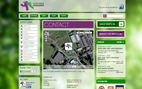 Screenshot of Contact Page sayfc.org - Scottish Association of Young Farmers Club | Contact - captured Oct. 6, 2014