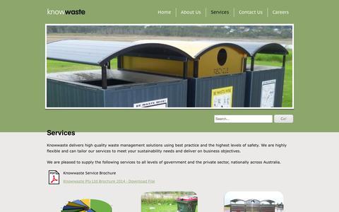 Screenshot of Services Page knowwaste.com.au - Services - Knowwaste - captured Oct. 8, 2014