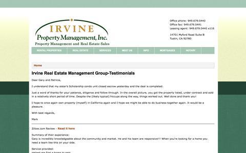 Screenshot of Testimonials Page irvinepropertymanagement.net - Irvine Real Estate Management Group-Testimonials   Irvine Property Management - captured Oct. 4, 2014