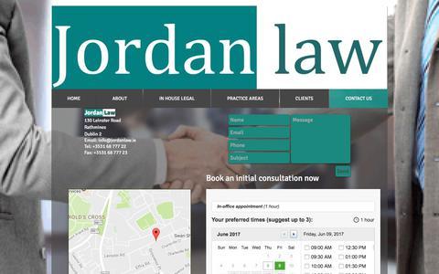 Screenshot of Contact Page jordanlaw.ie - Contact Jordan Law - captured June 8, 2017