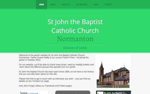 Screenshot of Home Page stjohnthebaptistinnormanton.co.uk - HOME - St John the Baptist Catholic Church, Normanton - captured June 10, 2016