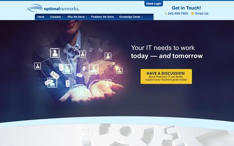 Screenshot of Home Page optimalnetworks.com - IT Company | DC, MD, VA | Optimal Networks - captured March 26, 2016