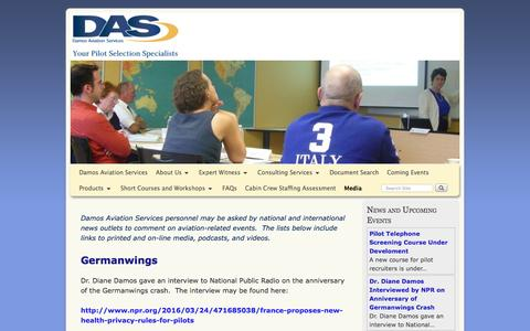 Screenshot of Press Page damosaviation.com - Damos interviews - captured Nov. 23, 2016
