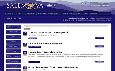 Screenshot of Press Page salemva.gov - News in Salem - captured Aug. 1, 2017