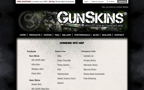Screenshot of Site Map Page gunskins.com - GunSkins | Site Map - captured Sept. 19, 2014