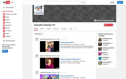 Screenshot of YouTube Page youtube.com - Camarillo Chamber TV  - YouTube - captured Oct. 22, 2014