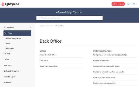 Back Office – Lightspeed eCommerce