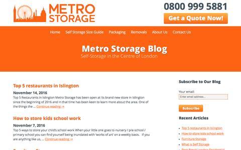 Screenshot of Blog metro-storage.co.uk - Read News Around Our London Self Storage Services   Metro Storage - captured Nov. 28, 2016
