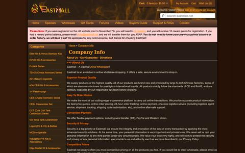 Screenshot of About Page Maps & Directions Page eastmall.net - Company Info - captured Oct. 29, 2018