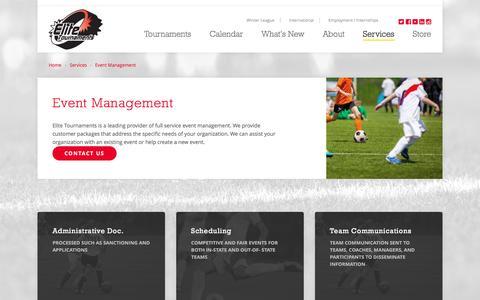 Screenshot of Services Page elitetournaments.com - Event Management | Elite Tournaments - captured July 13, 2016