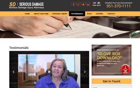 Screenshot of Testimonials Page sdinjuryattorney.com - Testimonials - Murrieta Personal Injury Lawyers - Free Consult - captured Sept. 29, 2018