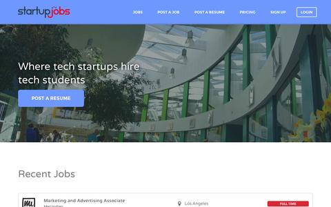Screenshot of Home Page startup-jobs.co - Startup Jobs | Where tech startups hire tech students - captured Oct. 7, 2014