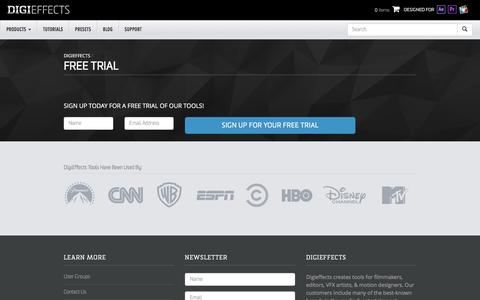 Screenshot of Trial Page digieffects.com - Free Trial – Digieffects - captured Aug. 2, 2016