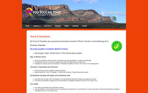 Screenshot of Terms Page youtoucantour.com.au - Terms & Conditions - captured Oct. 1, 2014