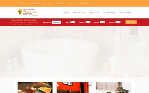 Screenshot of Home Page sardiniadomus.it - Bed & Breakfast B&B Cagliari Centro│Affittacamere SARDINIA DOMUS - captured Sept. 29, 2017