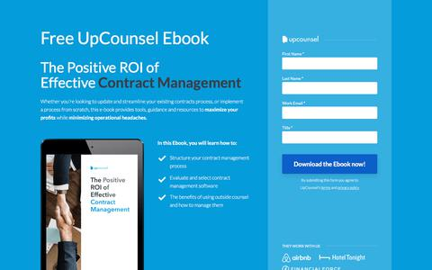 Screenshot of Landing Page upcounsel.com - The Positive ROI of Effective Contract Management - captured Sept. 19, 2018