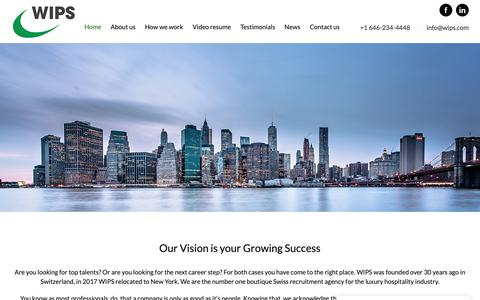 Screenshot of Home Page wips.ch - WIPS | A worlwide international placement service agency - captured Nov. 19, 2018