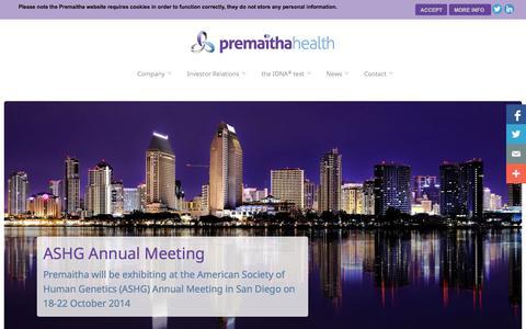 Screenshot of Home Page premaitha.com - Premaitha Health plc - Home - captured Oct. 2, 2014