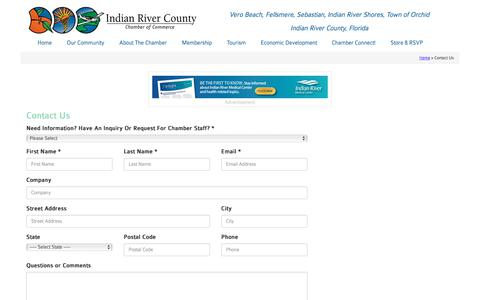 Screenshot of Contact Page indianriverchamber.com - Contact the Indian River Chamber of Commerce - Chamber of Commerce - Indian River County, Vero Beach Florida - Indian River Chamber - captured Oct. 15, 2017