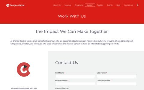 Screenshot of Support Page changecatalyst.co - Work With Us   Change Catalyst - captured Sept. 27, 2018