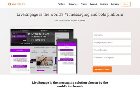 Screenshot of Pricing Page liveperson.com - LiveEngage   Pricing   LivePerson - captured April 22, 2018