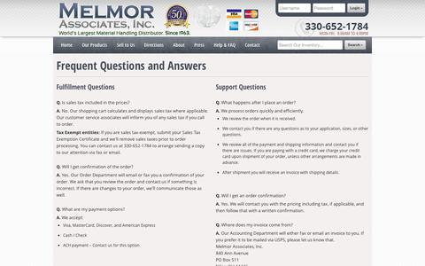 Screenshot of FAQ Page melmor.com - Melmor Associates, Inc - Frequently Asked Questions (FAQ) - captured Oct. 27, 2014