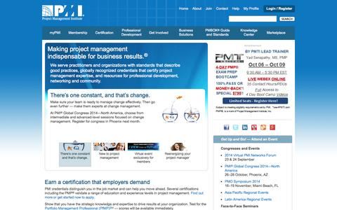Screenshot of Home Page pmi.org - PMI - the World's Leading Professional Association for Project Management - captured Sept. 18, 2014
