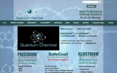 Screenshot of Home Page quantumchemical.com - Home | Division No. 11 | SafeCoat®; PRECIDIUM™; ILLUSTRIUM™ - captured Sept. 29, 2018