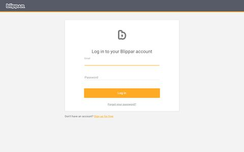 Screenshot of Login Page blippar.com - Log in - captured June 19, 2019