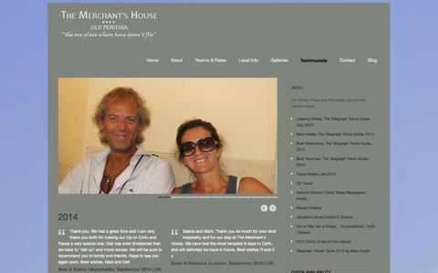 Screenshot of Testimonials Page merchantshousecorfu.com - The Merchant's House B&B Corfu   » Testimonials - captured Oct. 1, 2014